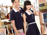 韩版情侣装夏装男T恤女连衣裙 纯棉短袖 一件代发女装加盟代理