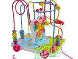 彩色蝴蝶珠拖拉车多功能木制玩具 绕珠车 儿童益智玩具玩具批发