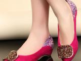 2014新款时尚彩钻女鞋 平底绣花浅口休闲鞋 坡跟女士单鞋单鞋批