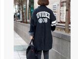 韩国东大门代购秋装78号数字字母中长款BF牛仔风衣女式 外套