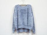 冬季新款仿貂绒条纹女式短款毛衣 前短后长超美柔软毛衣套头