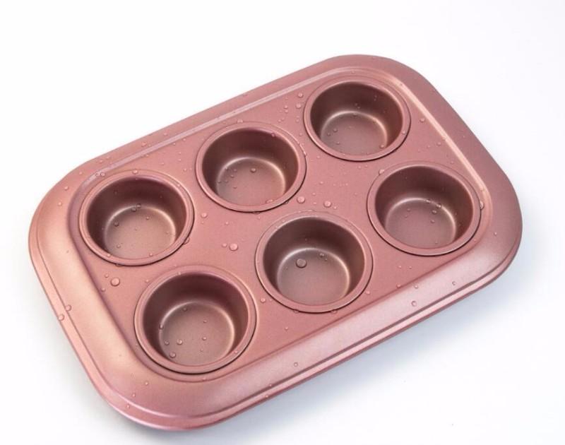 贝蒂妙厨玫瑰金6连玛芬烤盘