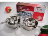 无磁不锈钢双层碗套装 不锈钢礼品餐具六件套 不锈钢碗筷套装