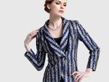 2015秋季新品女装上衣修身条纹短款小西装短款外套街头时尚小西服