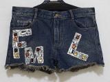 代理夏欧洲站时尚休闲字母图案手工钉珠镶钻洗水牛仔短裤热裤女