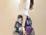 2014春夏装新款女装潮韩版蕾丝欧根纱印花两件套连衣裙女 #