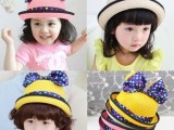韩版较新款春夏儿童太阳帽翻边帽 米奇彩色圆点卡通时尚潮帽批发
