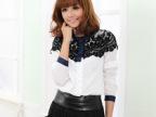 2013春夏秋新款韩版女装斗篷式蕾丝拼接雪纺衬衣打底衬衫长袖上衣
