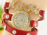潮流学生礼品腕表 女性水钻皮革三圈缠绕LOVE外贸款手表特价直销