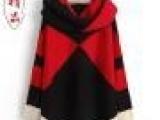 韩版毛衣中长款拼色毛衣送围脖套头长袖撞色女式毛衣