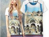 2014夏季新款女装 欧美风时尚妖精口袋同款复古城堡印花连衣裙