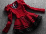欧洲站秋冬新款泡泡袖荷叶边摆式修身显瘦羊毛呢外套+欧根纱短裙