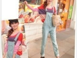 833#2013新款牛仔裤 日系可爱修身显瘦连体裤 牛仔裤 长裤