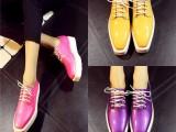 欧洲站14新款韩版真皮女鞋糖果色深口方头松糕厚底潮流单鞋