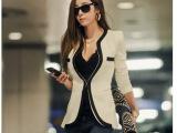 2014冬装秋装新款韩版 休闲修身黑白西装 礼服
