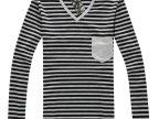 2014供应批发 男士V领条纹打底衫 长袖t恤