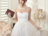 2013白色蕾丝镶拼花边大摆无袖收腰连衣裙  显瘦公主款大码女裙