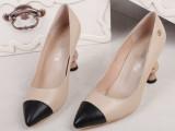 小香2014夏季新款 欧美时尚拼色低帮真皮尖头异形跟高跟潮女单鞋