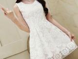 大码女装夏季新款厂家批发韩版蕾丝修身欧根纱中裙淑女清新连衣裙