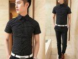 厂家直销夏装新款 男式短袖波点黑白衬衫  休闲拼色印花阳光型