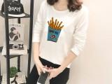 2018秋冬新款韩版卡通印花圆领宽松女士长袖t恤女上衣打底衫