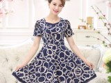 妈妈装连衣裙中长款40-50岁短袖夏装中年妇女裙子