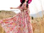 2015夏新款波西米亚沙滩裙雪纺印花超大摆女神连衣裙