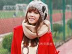 韩版毛线帽子 亮片蝴蝶结球球毛线帽 冬天线帽 女士帽子 针织帽子
