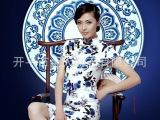 青花瓷系列 高端定制真丝旗袍 私人定做长款旗袍 可包工包料定制