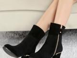 新款真皮女靴 欧美粗跟马丁靴 明星同款女靴 女鞋爆款一件代发