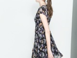 2014春夏新款欧美风ZR碎花花朵印花V领短袖雪纺连衣裙打底裙女