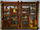 花架博古架红酸枝 多排实用实木博古架 小型老船木博古架置物架