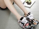 珀可尼 品牌韩国厚底女鞋 花朵n字鞋女松糕鞋增高帆布鞋女 运动鞋