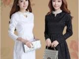 2013秋冬新款女装韩版修身长袖气质珍珠V领蕾丝提花连衣裙