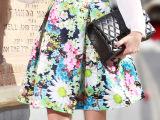 15春装欧美大牌女装 外贸半身裙明星同款蓬蓬裙伞裙复古印花短裙