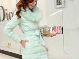2014冬季新款韩版狐狸毛羽绒外套女 中长款大毛领白鸭绒羽绒服女