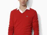 一件代发 秋装新款男士V领鳄鱼净色毛衣 针织衫 毛衣打底针织衫
