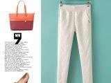 FL春夏新款2014外贸韩版蕾丝女长裤小脚裤松紧腰女休闲裤W12