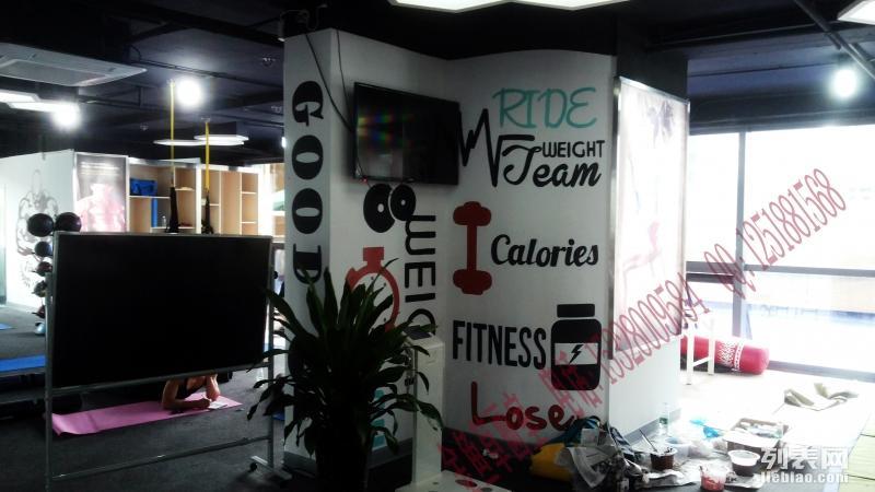 健身房涂鸦彩绘 手绘 墙绘 健身房3d画 成都墙绘工作室
