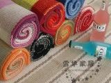 雪华家居 好思家格子系列地垫/门垫/瑜伽/全棉手工编织地毯多规格