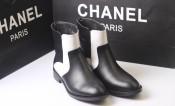 13欧美时尚新款 黑白拼色圆头低筒靴 百