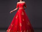 中式新娘嫁衣敬酒服一字肩钩花镂空蕾丝修身红色礼服裙装新款批发