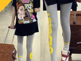 外贸女装 韩版宽松大码长款前短后长摆后背卡通海报短袖t体恤女