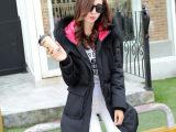 2015冬季中长款外套加厚连帽棉服纯色韩版长袖冬装通勤棉袄女棉衣