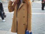 2014新款秋冬翻领毛呢外套中长款呢子大衣女韩版直筒双排扣加厚