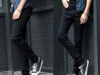 加绒秋冬韩版男生紧身小脚裤男显瘦牛仔裤修身纽扣细腿长裤