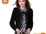 2014春款新款韩版女装百搭品牌气质毛绒钉珠无领长袖 女式外套