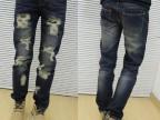2014春装新款直筒宽松牛仔裤破洞保暖林弯弯陈冠希男士潮流裤子
