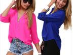 2014欧美春夏新款 大码休闲衬衫女款长袖中袖衬衣雪纺衫上衣