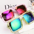 2014新款 水晶透明 大方框太阳镜 时尚个性 潮人款炫彩太阳镜